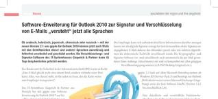 """Software-Erweiterung für Outlook 2010 zur Signatur und Verschlüsselung von E-Mails """"versteht"""" jetzt alle Sprachen"""
