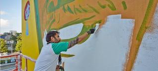 Graffiti-Künstler Speto und das Herz auf der Kirche