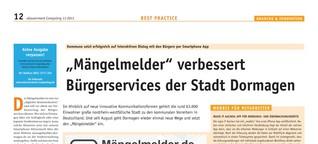 """""""Mängelmelder"""" verbessert Bürgerservices der Stadt Dormagen"""