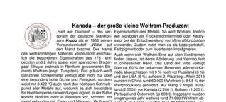 Kanada - der große kleine Wolfram-Produzent