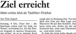 Arbeitsprobe: Selbsterfahrung Triathlon