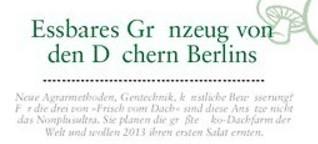 Essbares Grünzeug von den Dächern Berlins