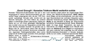'Good Enough': Kanadas Telekom-Markt weiterhin solide