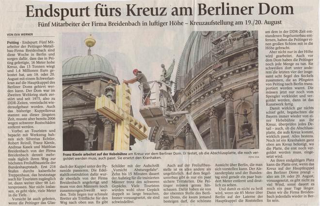 Endspurt fürs Kreuz am Berliner Dom