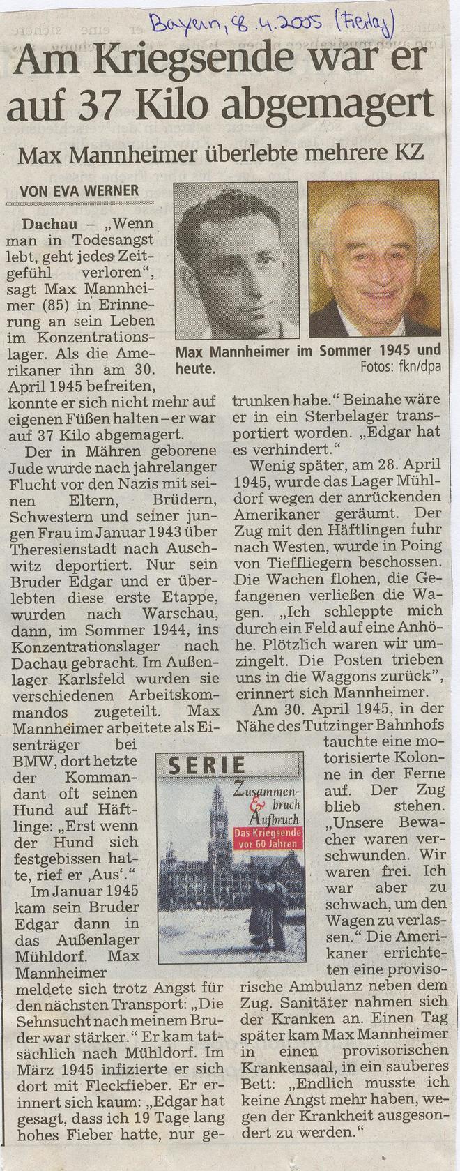 Max Mannheimer: Er überlebte mehrere KZ