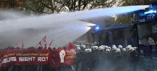 Wasserwerfereinsatz an der Emilienstraße