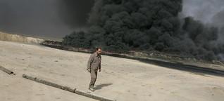 Apokalyptische Szenen Erbitterter Kampf gegen die brennenden Ölfelder bei Mossul