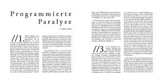Programmierte Paralyse, in: engagée. Magazin für politisch-philosophische Einmischungen, Nr. 5