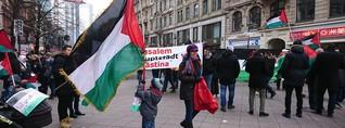 800 Menschen ziehen auf Palästinenser-Demo durch die Innenstadt