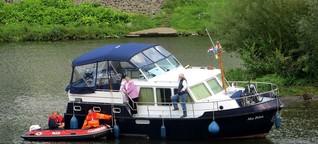 Aufwändige Bergung: Yacht auf Ruhr festgefahren