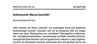 Schwerpunkt: Warum Autorität? : Deutsche Zeitschrift für Philosophie