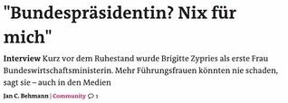 """Interview - """"Bundespräsidentin? Nix für mich"""""""