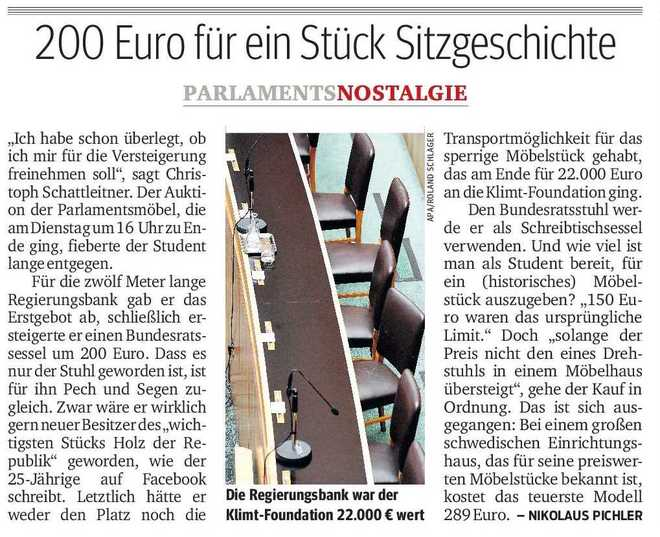 200 Euro für ein Stück Sitzgeschichte