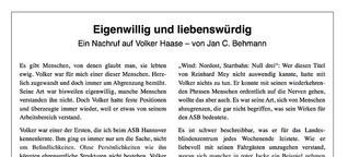 Nachruf auf Volker Haase