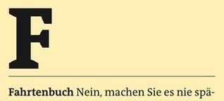 Freitag A-Z: Fahrtenbuch