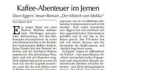 """Rezension Dave Eggers """"Der Mönch von Mokka"""""""