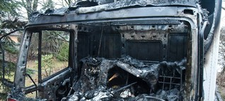 Lkw brennt an der B96 in Eibau
