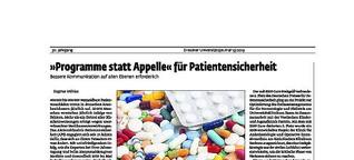 """""""Programme statt Appelle"""" für Patientensicherheit"""