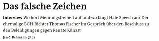 Thomas Fischer: Das falsche Zeichen