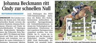 Johanna Beckmann ritt mit Cindy zum Sieg