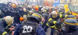 Frankreichs Polizei geht brutal gegen streikende Feuerwehrleute vor