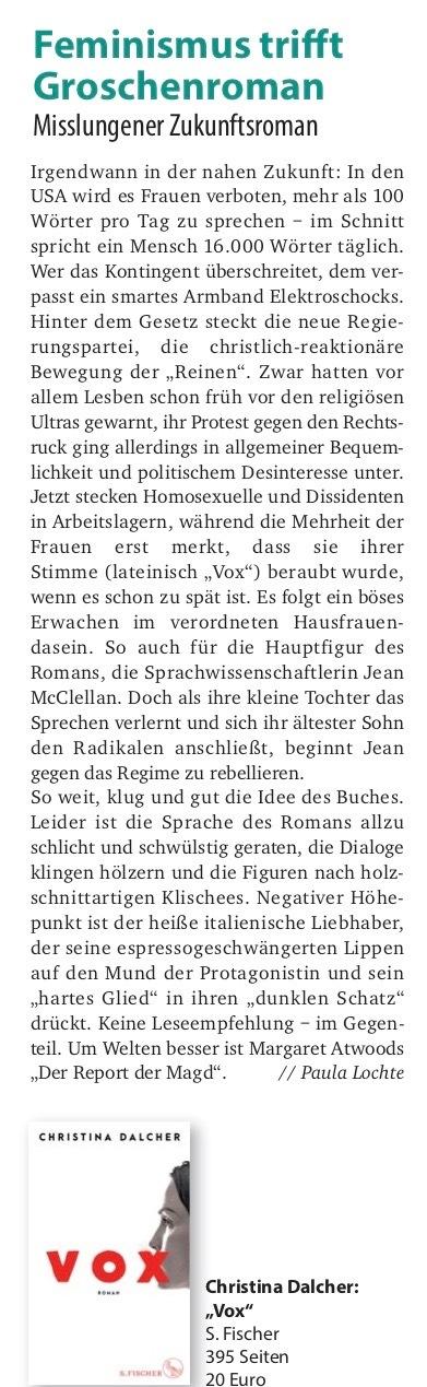 """""""Vox"""": Feminismus trifft Groschenroman"""
