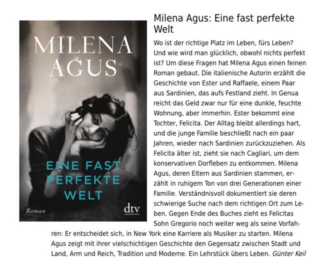 """Rezension von Milena Agus """"Eine fast perfekte Welt"""""""