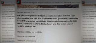 """Gefälschter """"Focus""""-Artikel: Nein, die Supermärkte in Deutschland schließen nicht an vier Wochentagen Nein, Supermärkte in Deutschland schließen nicht an vier Wochentagen"""