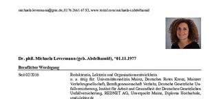 Werdegang M. Levermann (geb. Abdelhamid)