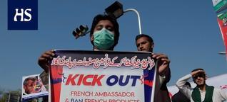Pakistan | Suuttumus Macronia kohtaan kasvaa muslimimaissa - mielenosoittajat pyrkivät Ranskan lähetystölle Islamabadissa Pakistanissa