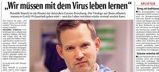 Virologe Hendrik Streeck schreibt über seine Erfahrungen mit Corona