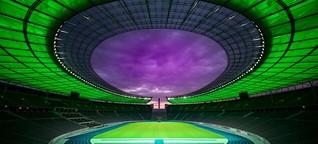 Neue LED-Flutlichtanlage lässt das Olympiastadion wie ein UFO leuchten