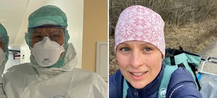 Krankenschwester hält sich fit, um Covid-Patienten zu pflegen